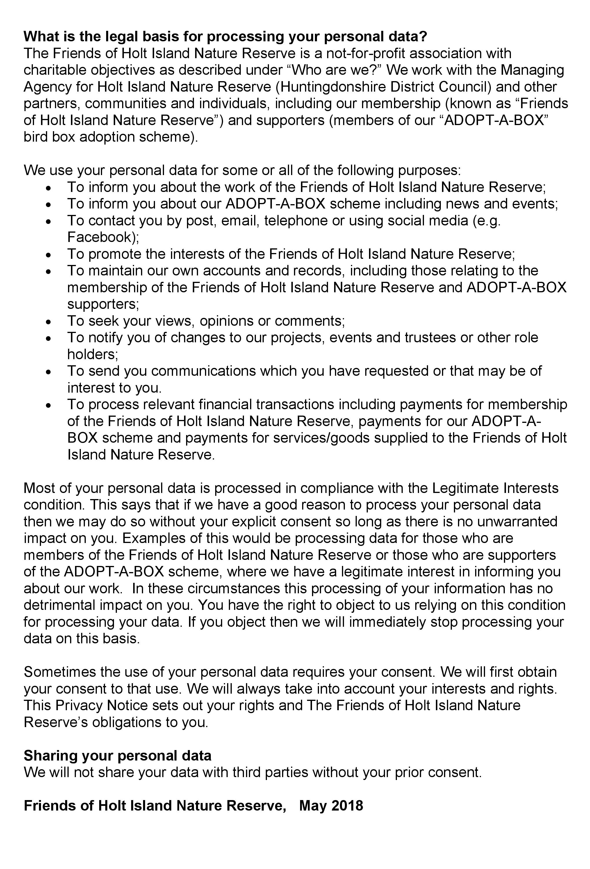 Privacy Notice Page 2